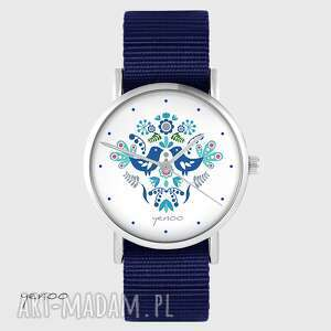 zegarek yenoo - ptaszki folkowe, niebieskie granatowy, nato, zegarek, nato