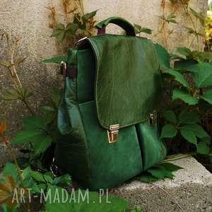 lilith chimera plecak/torba zielona skóra, pullup, zamsz, plecak, kobiecy