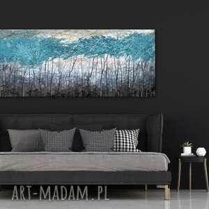przepiękny pejzaż do salonu i sypialni - abstrakcyjne drzewa - turkusowy świat
