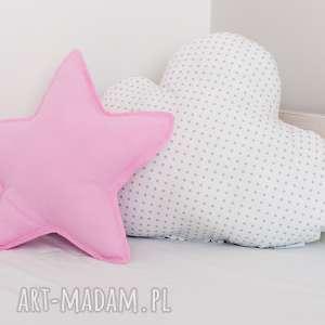 zestaw 2 poduch różowo-biały, poduszka chmurka, gwiazdka, różowa