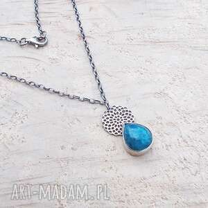 naszyjniki apaytowa kropla na ażurach, srebrna biżuteria, srebrny naszyjnik