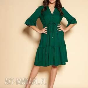sukienka z falbanami - suk197 zielony, falbankami, summer dress