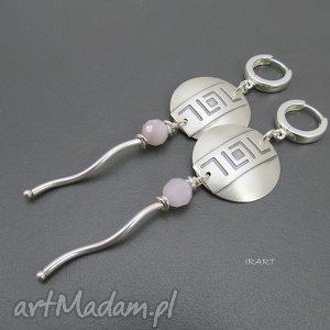 kolczyki ozdobna blaszka z kunzytem, srebro, kunzyt biżuteria