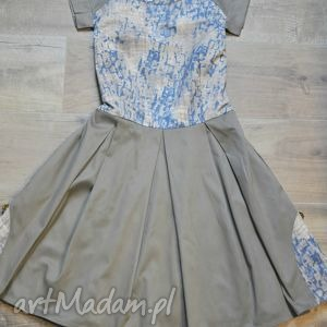 sukienki sukienka safari i, sukienka, rozkloszowana, kieszenie, khaki, lato ubrania