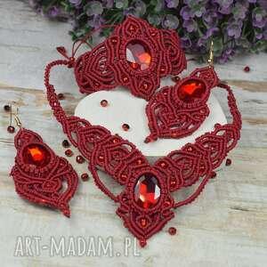 elegancki bordowy komplet biżuterii z kryształami naszyjnik, kolczyki