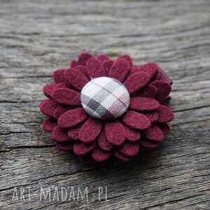 spinka do włosów kwiatek burgund, spinka, filc, świąteczna, kwiatek, ozdoba