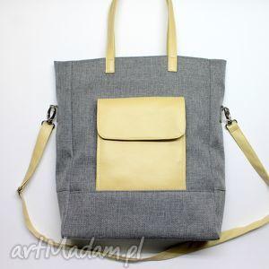 Prezent Shopper Bag - tkanina szara i skóra beż, elegancka, nowoczesna, prezent