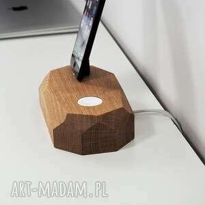 Prezent Stacja ładowania urządzeń Apple Watch & iPhone, iphone, drewniane, drewno
