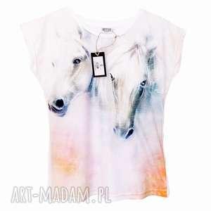 Artystyczny t-shirt damski - malowane konie Wysoka Jakość!, znadrukiem, modny