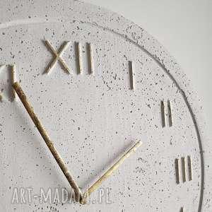 Zegar betonowy handmade z betonu biały złoty 45cm vintage styl
