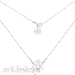srebrny naszyjnik z płatkiem śniegu - naszyjnik, zawieszka, plateksniegu