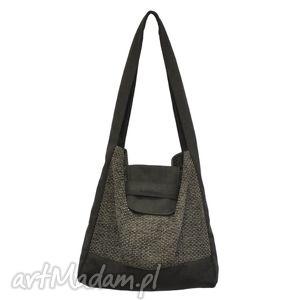 01-0003 szaro-brązowa torba worek na zakupy humming-bird maxi, duże, markowe
