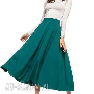 spódnice spódnica midi, t260, szmaragdowy, spódnica, zamek, ozdobny