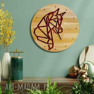 zegary zegar ścienny z drewna dębowego, żywica, konik, natura