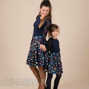 komplet spódniczek inga, spódnice, komplet, mama i córka, kwiaty, mrugała