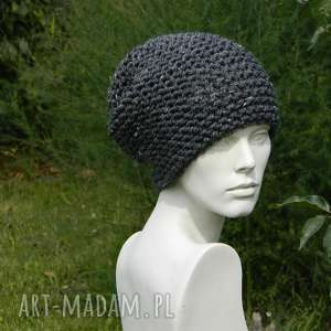 handmade czapki tweed stalowy - na prawo zimowa czapa
