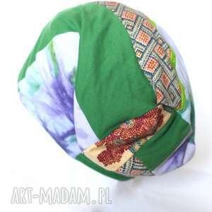 czapka damska patchworkowa etno, czapka, kolorowa, patchwork, damska, boho