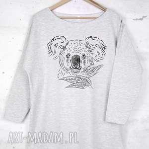 pomysł na prezent pod choinkę KOALA bluzka bawełniana szara L/XL z nadrukiem,