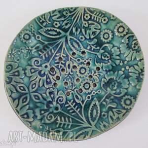 folkowa mydelniczka ceramiczna, mydelniczka, podstawka, na mydło, dekoracyjna
