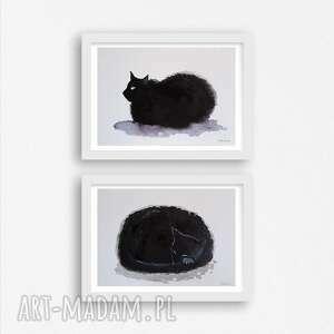 kotki ii-dwie akwarele każda formatu a5, koty, akwarela, tusz, kredki