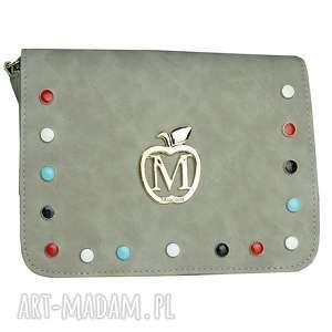 mini listonoszka kolorowe ćwieki siwa muflon, torebka, listonoszka, mini