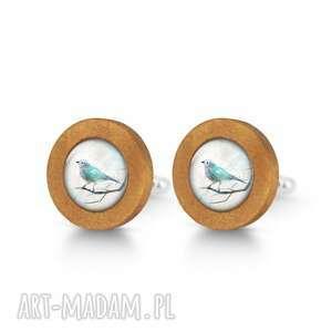 turkusowy ptaszek - drewniane spinki do mankietów - spinki mankietów, ptak