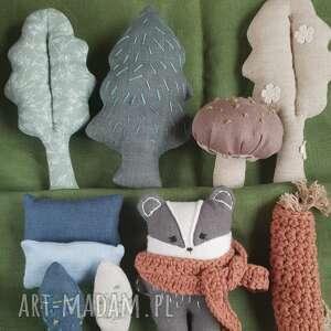 zestaw leśne zwierzątka -borsuk zestaw zabawek, leśne zwierzęta, lniana