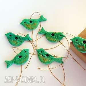 świąteczne zawieszki ptaszki zielono - złote z kolekcji