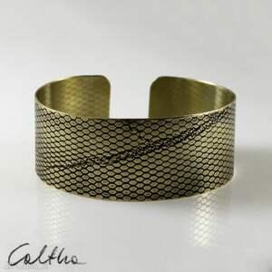 siatka - mosiężna bransoletka, bransoleta, szeroka, mosiężna, złota