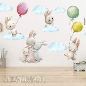 naklejki na ścianę króliczki balony kolorowe nr 1 chmurki 100cm, naklejka