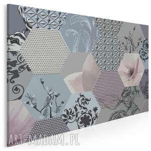 obraz na płótnie - heksagony kwiaty 120x80 cm 63901, heksagony, kwiaty, wzór