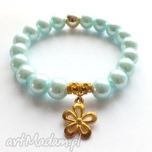 Bransoleta mint pearls y, kwiat, kwiatuszek, charms, zawieszka