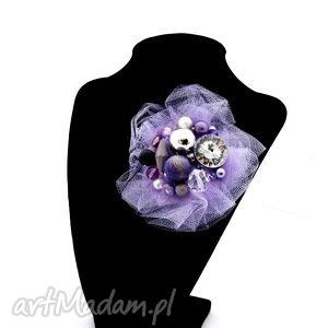 broszka lila - broszka, handmade, tiul, fiolet, fioletowa, liliowa