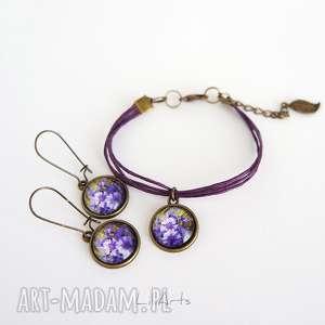 komplet - fioletowe chabry sznureczki, kolczyki wiszące, bransoletka