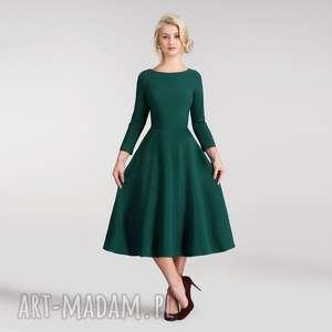 Sukienka KLARA 3/4 Total Midi Zieleń, do-łydki, rozkloszowana, sukienka, kieszenie