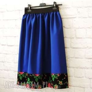 spódnice spódnica folk góralska kwiaty szafirowa midi, spódnica, folk, folkowa