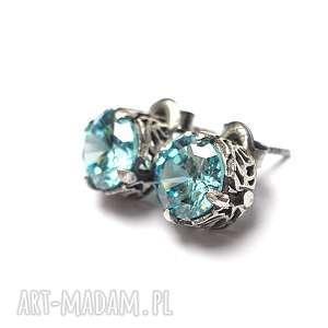 Koronkowe /baby blue/, cyrkonie, srebro, koronkowe, sztyfty