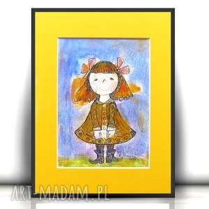 Rysunek z dziewczynką, obrazek dziewczynka obrazek, ilustracja