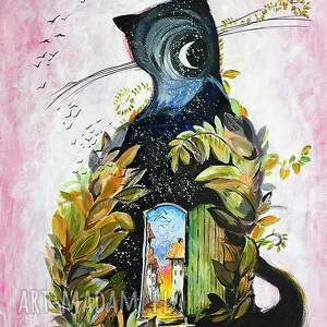 akryl na płótnie, obraz kot jesienny, obraz, akryl, płótno, jesień, kot, drzwi