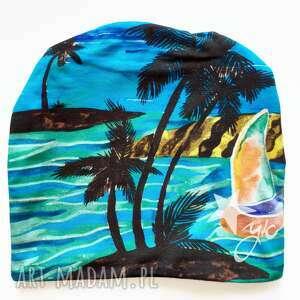 czapka niebiańska plaża, morze, hawaje, palmy, bali, hawajski wzór
