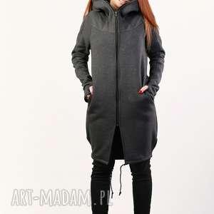 płaszczyk ashmitta z kapturem, długa bluza, na zamek, płaszcz