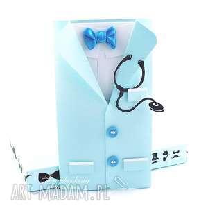 Fartuch lekarski - kartka dla niego, lekarz, doktor, stetoskop, mucha, podziękowanie