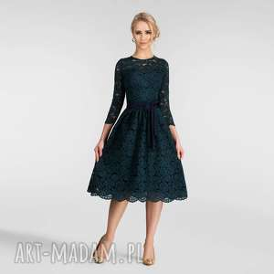handmade sukienki sukienka aida midi simona (podkład granatowy)