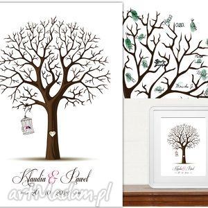 Romantyczne drzewo wpisów 40x50 cm 3 tusze księgi gości
