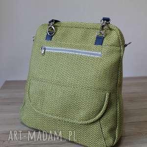 plecak torba listonoszka - tkanina w jodełkę lemon, elegancka, nowoczesna