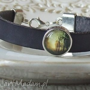 bransoletka z grafiką drzewa ii, biżuteria, bransoletka, bransoletki, skóra
