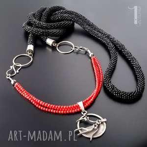 Cherry srebrny nzaszyjnik, sznur szydełkowy , szrebro, metaloplastyka, koral,