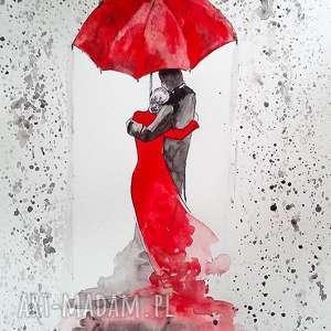 pod parasolem akwarela artystki adriany laube - miłość, zakochani, w deszczu