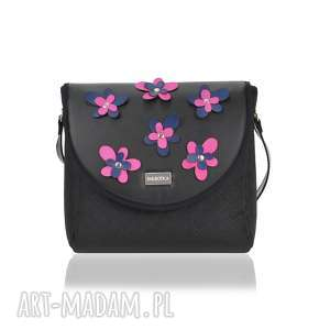 Torebka puro classic 2308 flower decoration black and pink