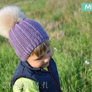 Komplet Wrzosowy Merynos Dziecięcy, dziergana, wełniana, ciepła, zimowa, merynos,